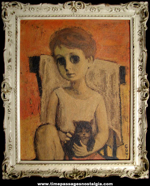 Old Framed Girl with Big Eyes & Cat Print