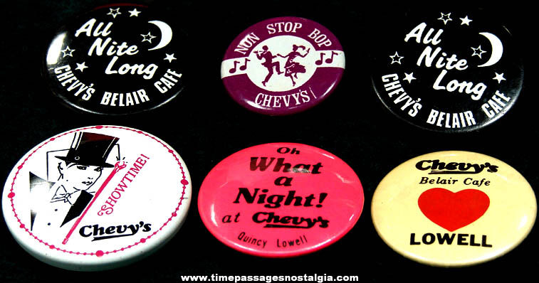 (6) Old Chevy's Belair Cafe Advertising Pin Back Buttons