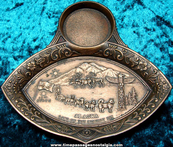 Old Copper Metal Alaska Advertising Souvenir Snack or Ash Tray