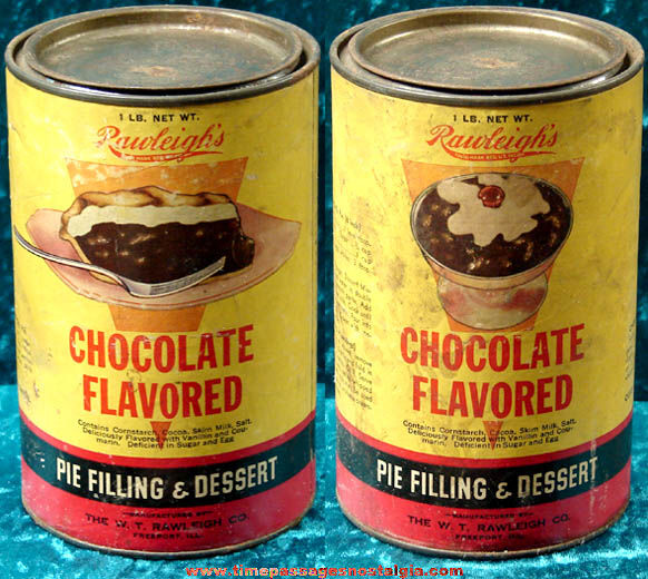 Old Full Rawleigh's Chocolate Flavored Pie Filling & Dessert Advertising Can