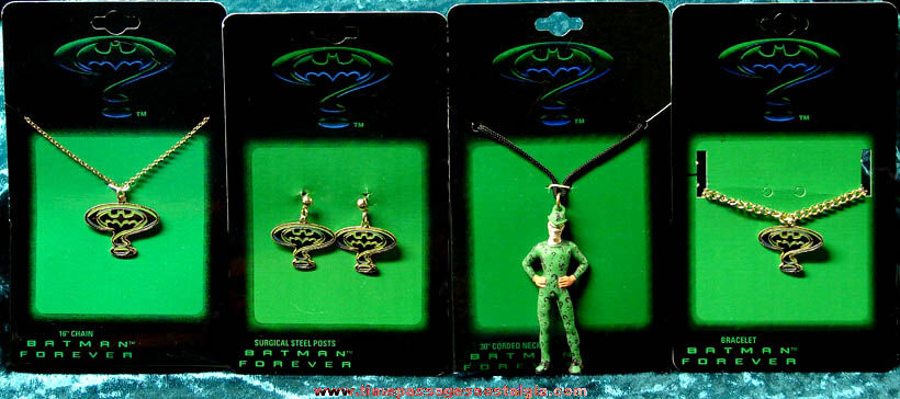 (4) Unused Carded Batman Forever Movie Advertising Jewelry Items
