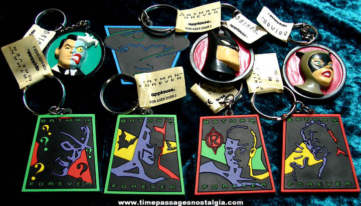 (8) Different Unused Batman Forever Movie Advertising Character Key Chains