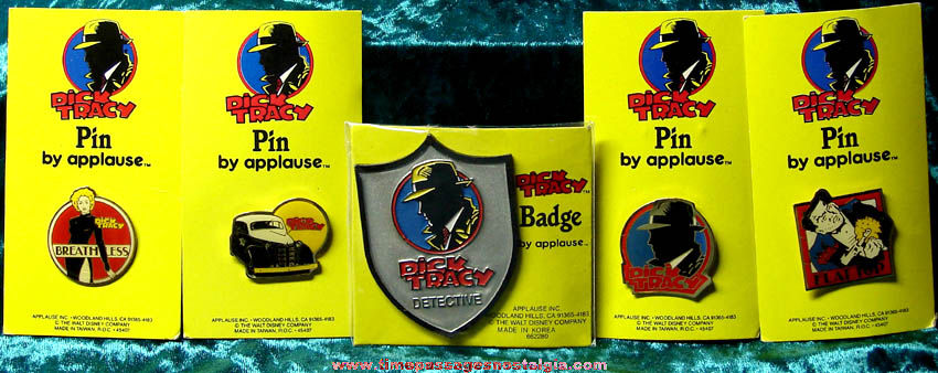 (5) Old Unused & Carded Dick Tracy Badge and Movie Character Pins