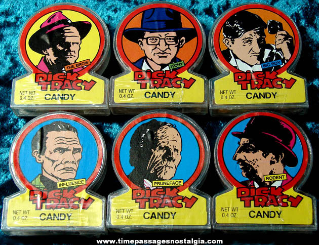 (6) Unopened Dick Tracy Movie Character Topps Candy Dispensers