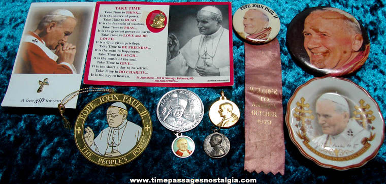 (10) Different Small Old Christian or Catholic Pope Related Items