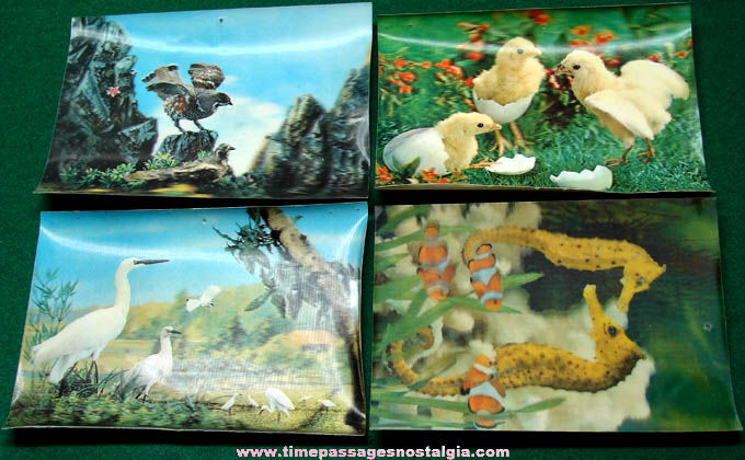 (4) Different Colorful Old Unused 3-D Animal Post Cards