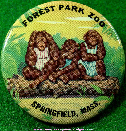 Colorful Old Forest Park Zoo Advertising Souvenir Pin Back Button