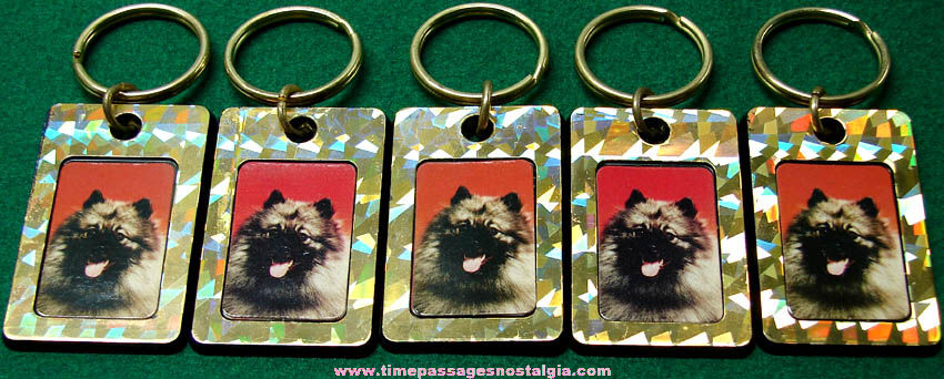 (5) Unused Keeshound Dog Picture Key Chains