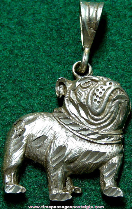 Old Sterling Silver Bull Dog Necklace Pendant
