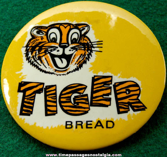 Colorful Old Tiger Bread Advertising Pin Back Button