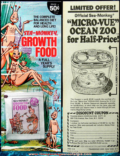 ©1971 Carded & Unopened Sea Monkey Growth Food