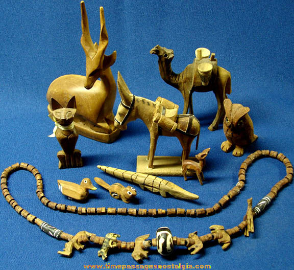 (15) Small Old Carved Wooden Animal Figures