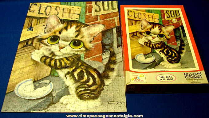(4) Boxed �1968 Big Eyed Pity Kitty &Puppy Gig Milton Bradley Jig Saw Puzzles