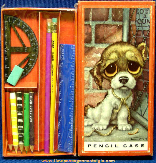 1960s Big Eyed Pity Puppy Gig Art Print Pencil Case With Contents
