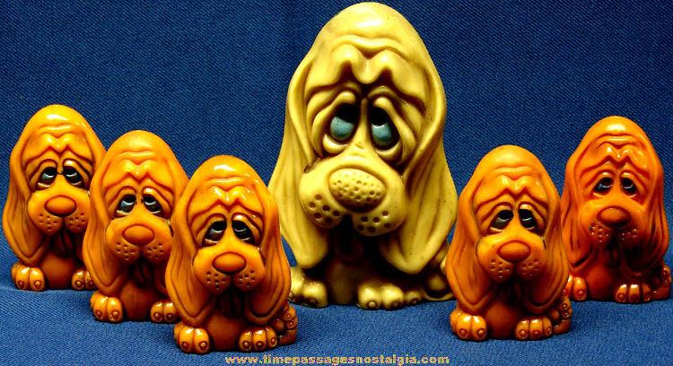 Old Big Eyed Puppy Pencil Holder & Salt & Pepper Shaker Sets