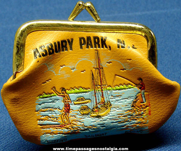 Colorful Old Asbury Park New Jersey Advertising Souvenir Change Purse