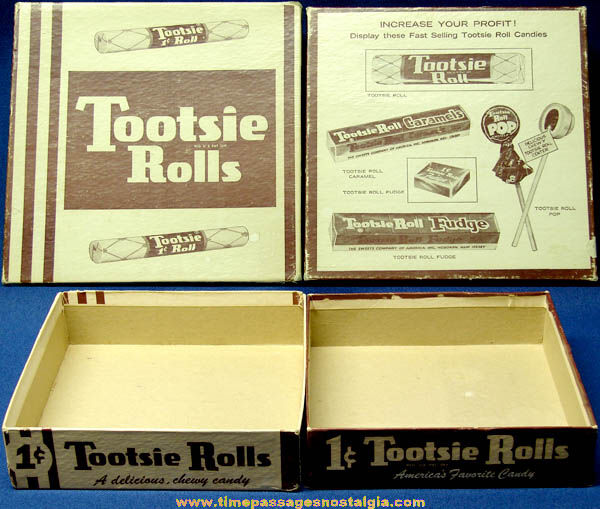 Old Tootsie Roll Penny Candy Advertising Store Display Box