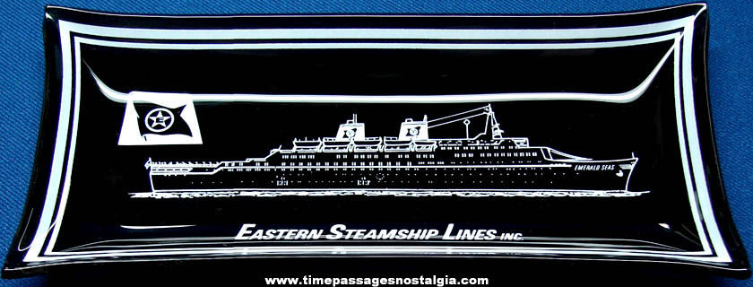 Old Eastern Steamship Black Glass Advertising Souvenir Tray