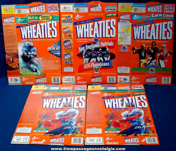 (5) 1990s Football Related Wheaties Cereal Boxes