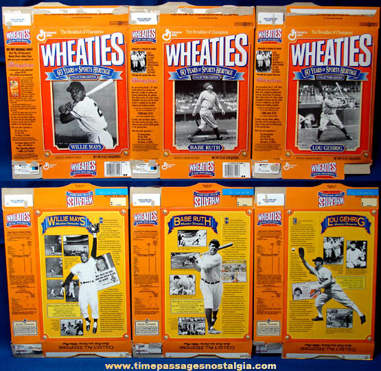 (3) ©1992 Wheaties Sports Heritage Baseball Player Cereal Boxes