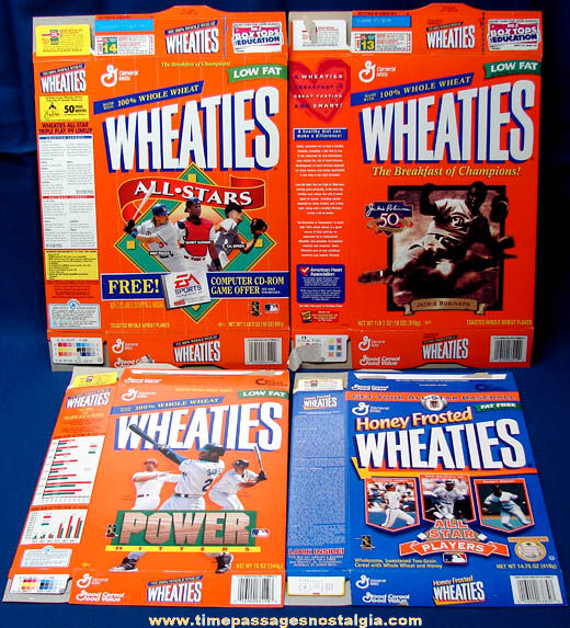 (4) 1990s Wheaties Baseball Player Related Cereal Boxes