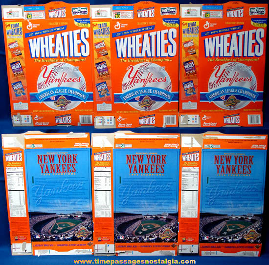 (3) ©1996 New York Yankees American League Champion Wheaties Cereal Boxes