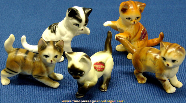 (5) Different Old Cat or Kitten Bone China Figurines