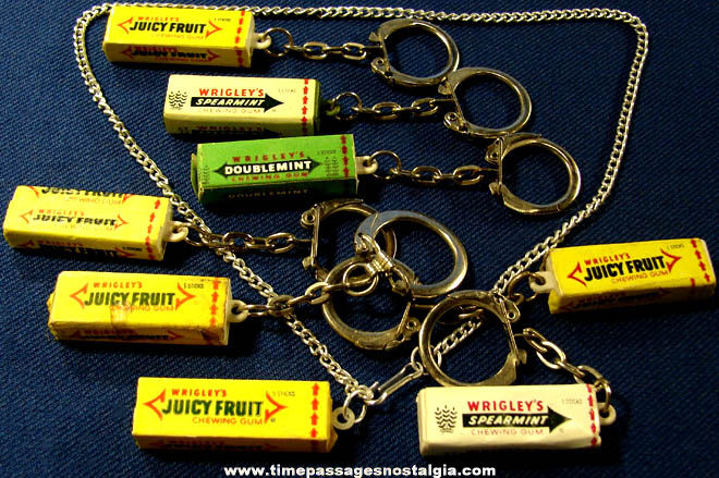 (8) Old Wrigley's Chewing Gum Advertising Key Chains & Necklace