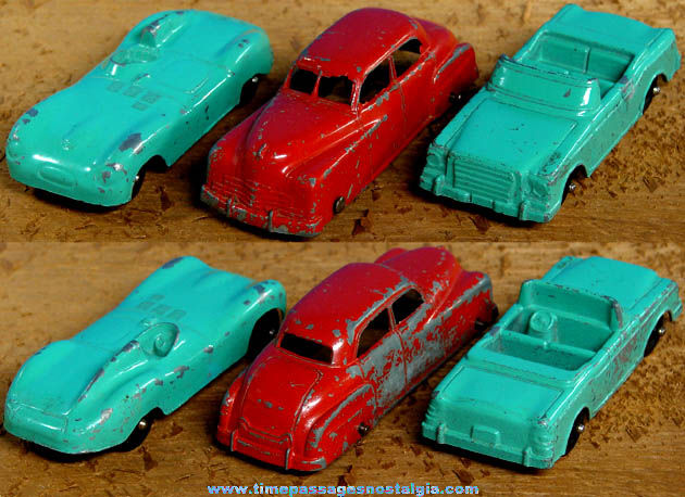 (3) Old Painted Metal Tootsietoy Toy Diecast Cars