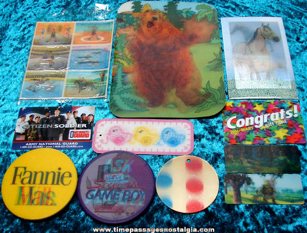 (16) Different 3-D & Flicker Cards, Stickers, & Pin Back Buttons
