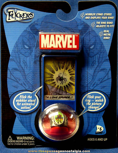 Unopened ©2004 Marvel Comics Spiderman Metal Flicker Toy Ring #6