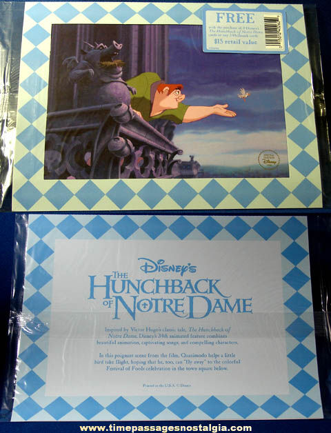 Unopened 1996 Walt Disney Hunchback of Notre Dame Hallmark Cards Advertising Premium Print