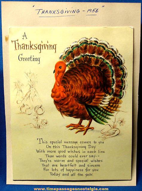 Colorful 1956 Hallmark Pop Up Turkey Thanksgiving Greeting Card