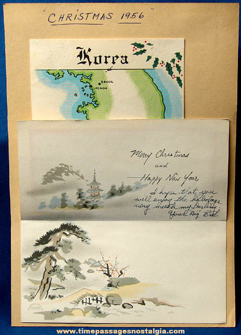 (2) Colorful 1956 U.S. Serviceman Korean Christmas Greeting Cards