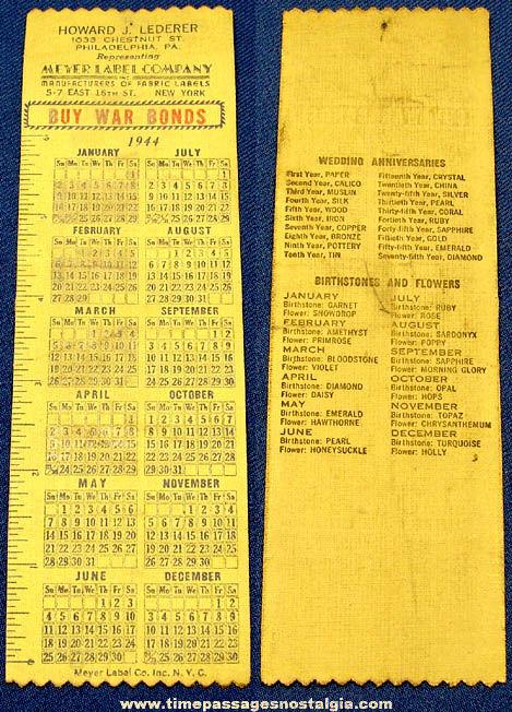 1944 Advertising Premium Calendar & Ruler Cloth Book Mark