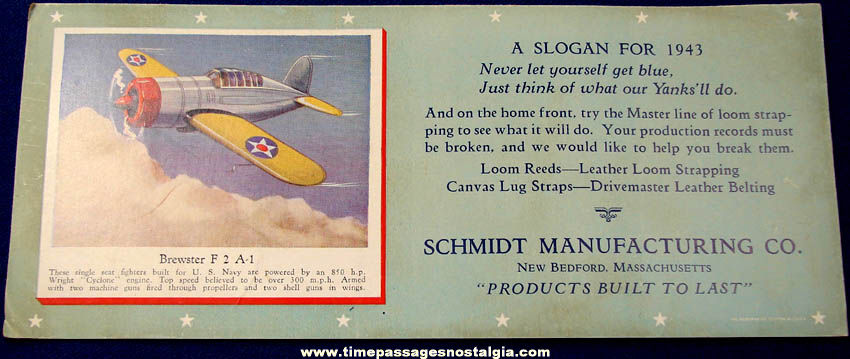 1943 World War II Airplane Advertising Premium Ink Pen Blotter