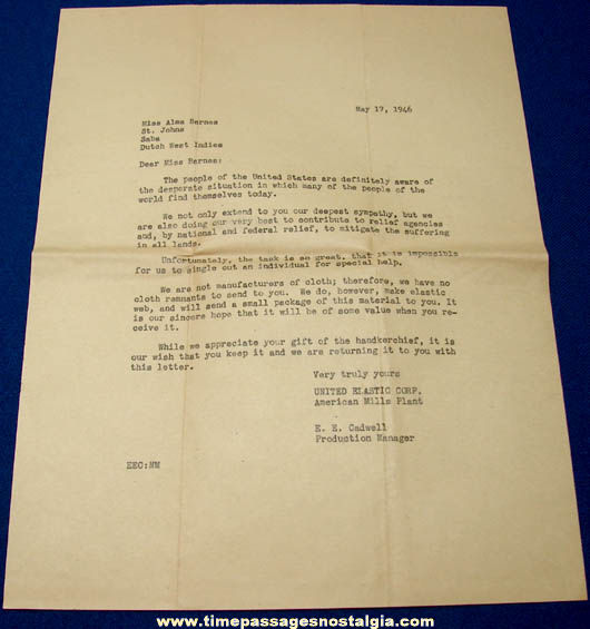 1946 Dutch West Indies War Relief Letter and Response