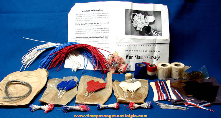 1940s World War II Homefront War Stamp Corsage Making Kit