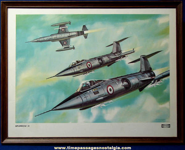 Colorful Old Framed Jet Airplane Print with Raytheon Sparrow III Missiles
