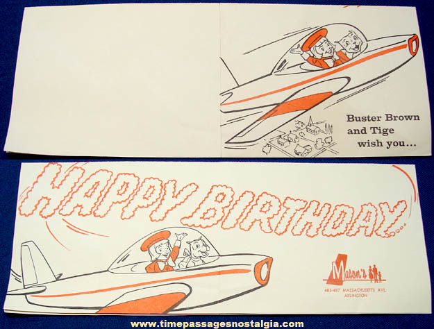 Old Buster Brown Shoes Advertising Birthday Card