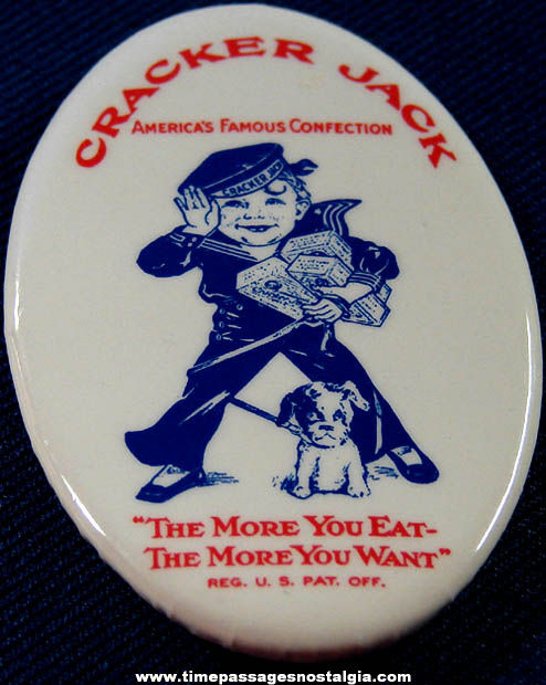 Old Unused Cracker Jack Advertising Employee Oval Pin Back Button Badge