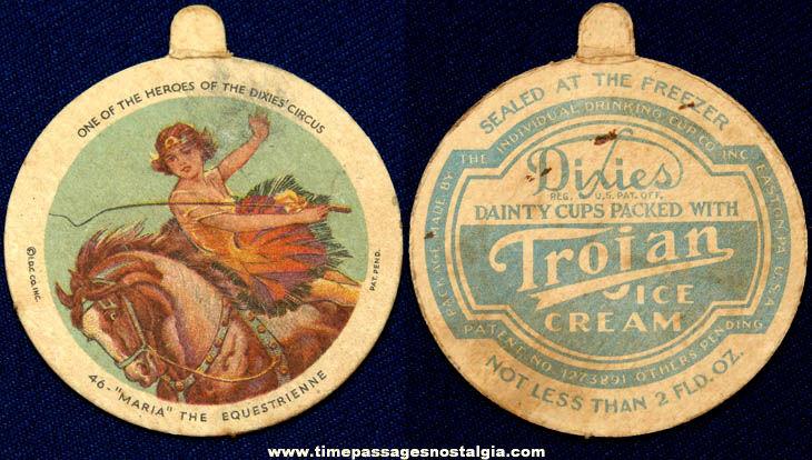 Old Equestrian Circus Performer Dixie Ice Cream Premium Lid