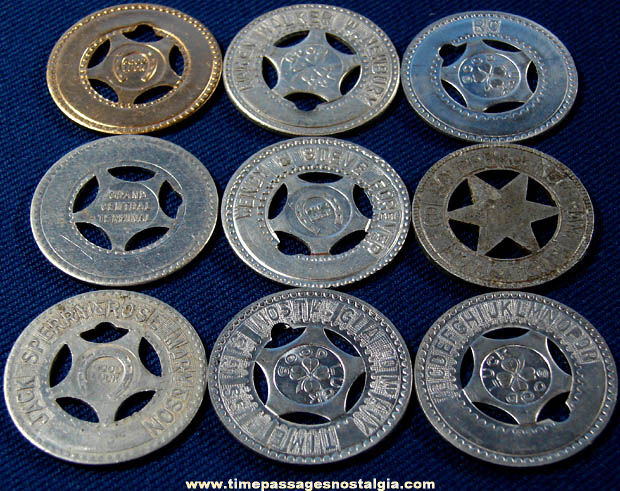 (9) Old Arcade Souvenir Personalized Good Luck Token Coins