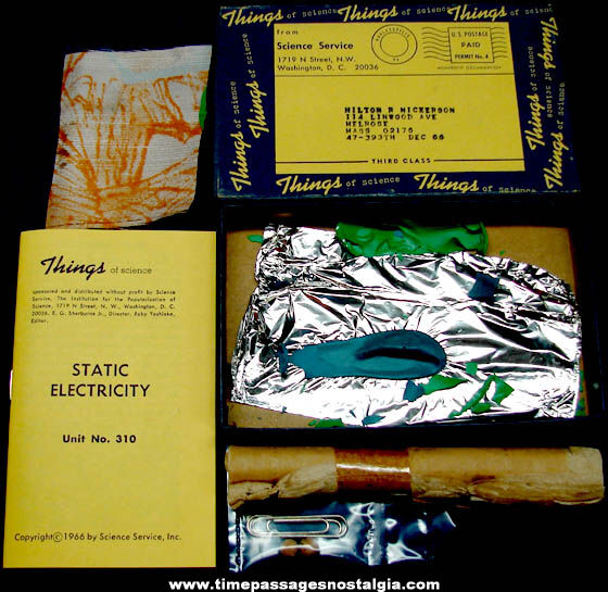 ©1966 #310 Static Electricity Science Service Things of Science Kit