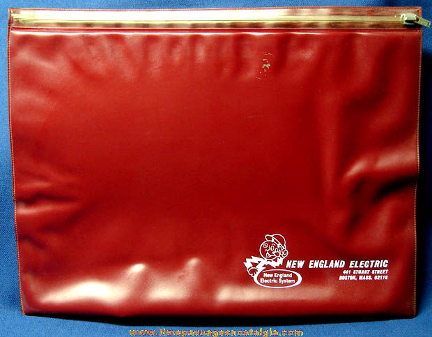Large Old New England Electric Vinyl Document Pouch With Reddy Kilowatt
