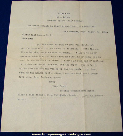 Very Funny 1911 San Francisco Plumbing Company Letter