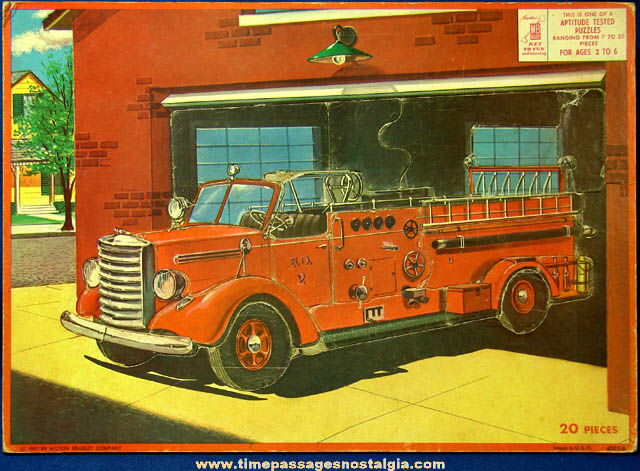 Colorful ©1957 Milton Bradley Company Fire Truck Frame Tray Puzzle