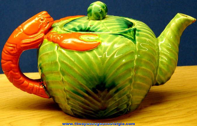Colorful Old Lobster & Cabbage Porcelain Tea Pot
