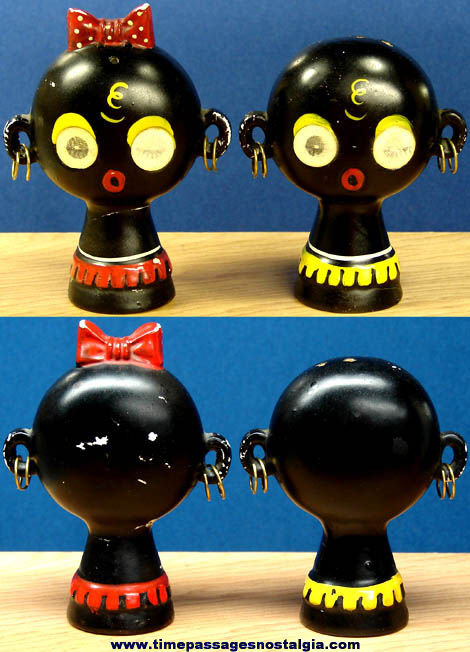 Colorful Old Golliwogg Character Salt & Pepper Shaker Set