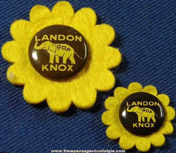 (2) 1936 Alfred Landon & Frank Knox Political Campaign Pin Back Buttons